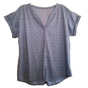 LL Bean Slit Neck Tee Shirt Top XL Blue